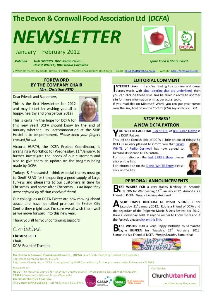 The Devon & Cornwall Food Association Ltd (DCFA)NEWSLETTER  January – February 2012 Patrons:      Judi SPIERS, BBC Radio D...
