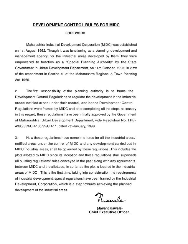 DEVELOPMENT CONTROL RULES FOR MIDC                                  FOREWORD       Maharashtra Industrial Development Corp...