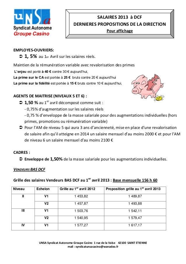 Syndicat Autonome Groupe Casino  SALAIRES 2013 à DCF DERNIERES PROPOSITIONS DE LA DIRECTION Pour affichage  EMPLOYES-OUVRI...