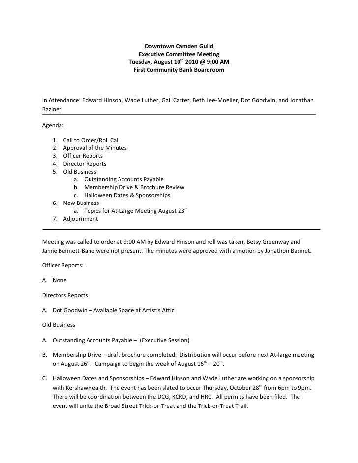 Downtown Camden Guild                                    Executive Committee Meeting                                Tuesda...