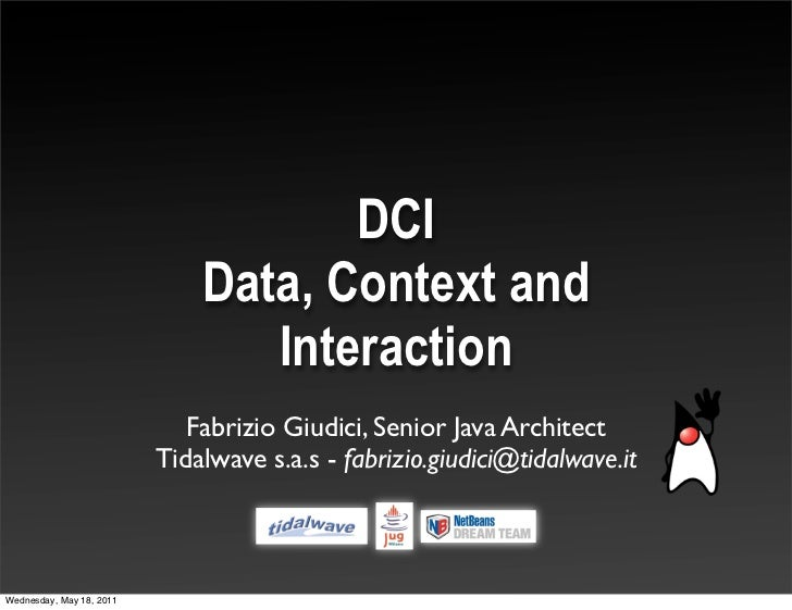 DCI - Data, Context and Interaction @ Jug Lugano May 2011