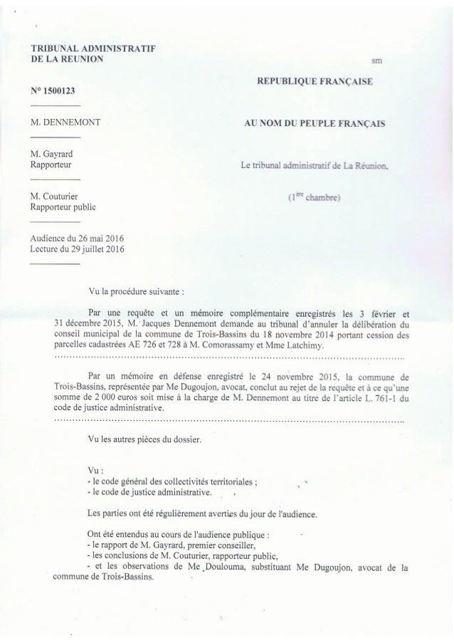 Décision du tribunal administratif du 26 mai 2016