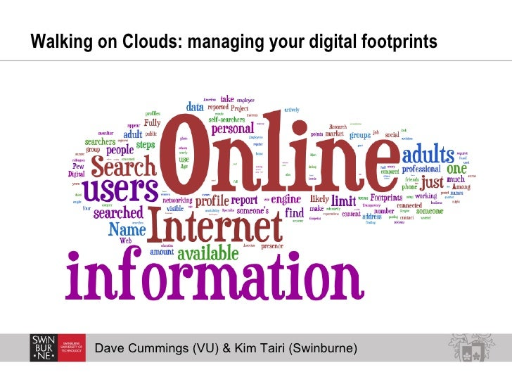 Walking on Clouds: managing your digital footprints  Dave Cummings (VU) & Kim Tairi (Swinburne)