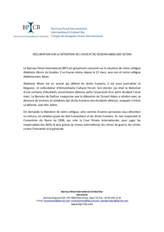 Barreau Penal International International Criminal Bar Colegio de Abogados Penal Internacional DÉCLARATION SUR LA DÉTENTIO...