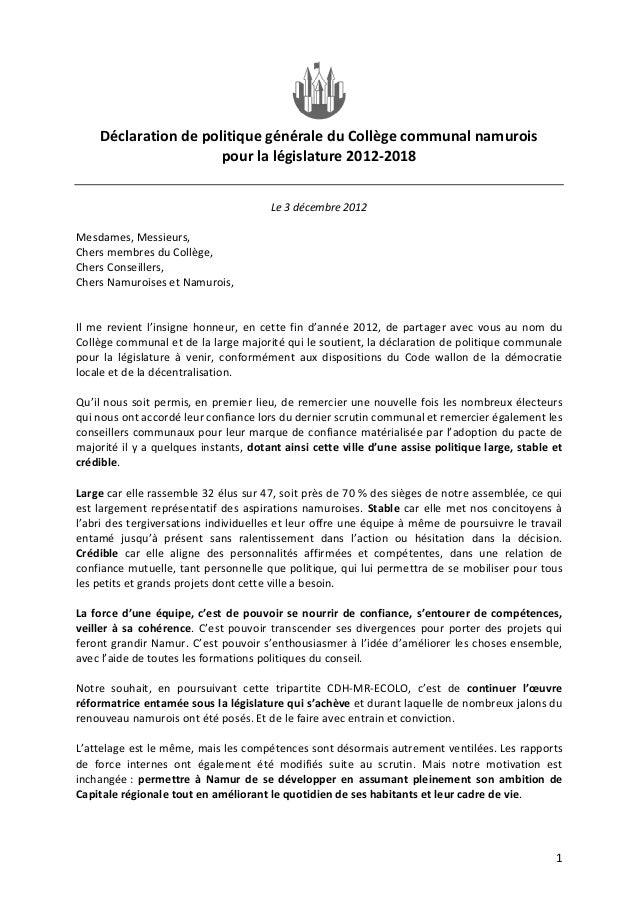 Déclaration de politique générale du collège communal 2012 2018