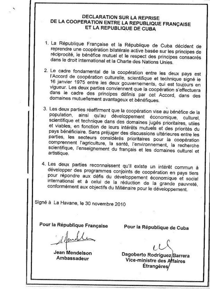 DéClaration De Reprise De CoopéRation France Cuba 30 11 2010