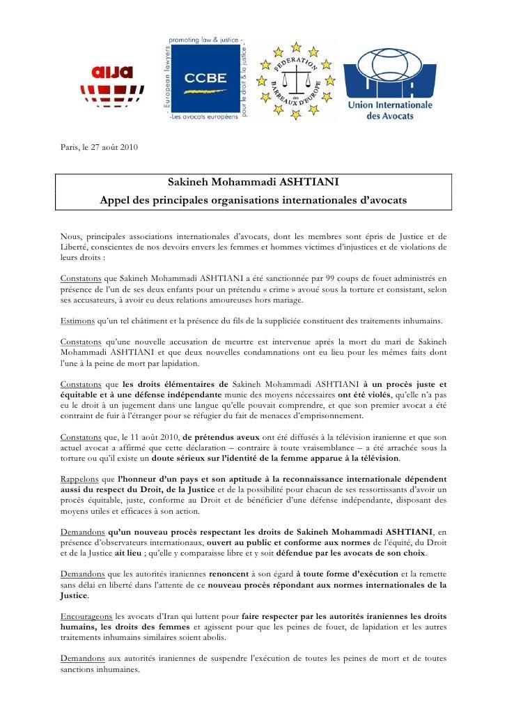 Déclaration sakineh ashtiani fr-gb100826