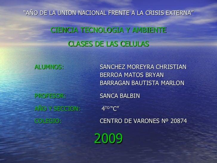 """<ul><li>"""" AÑO DE LA UNION NACIONAL FRENTE A LA CRISIS EXTERNA"""" </li></ul><ul><li>CIENCIA TECNOLOGIA Y AMBIENTE </li></ul><..."""