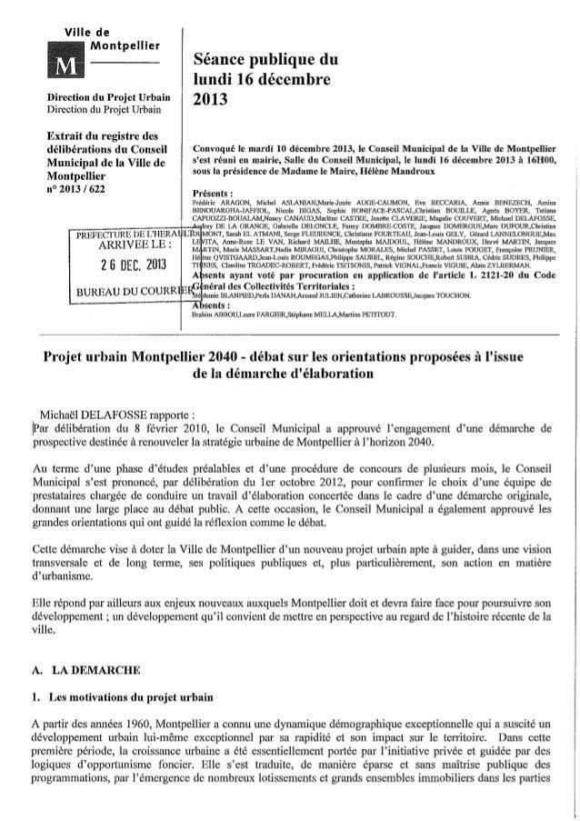 Délibération  débat projet urbain Conseil Municipal 16/12/13