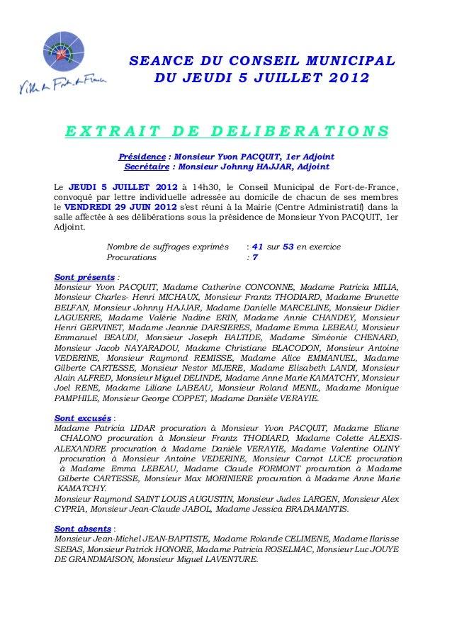 Dcm stationnement gratuit conseil municipal du 05 juillet 2012