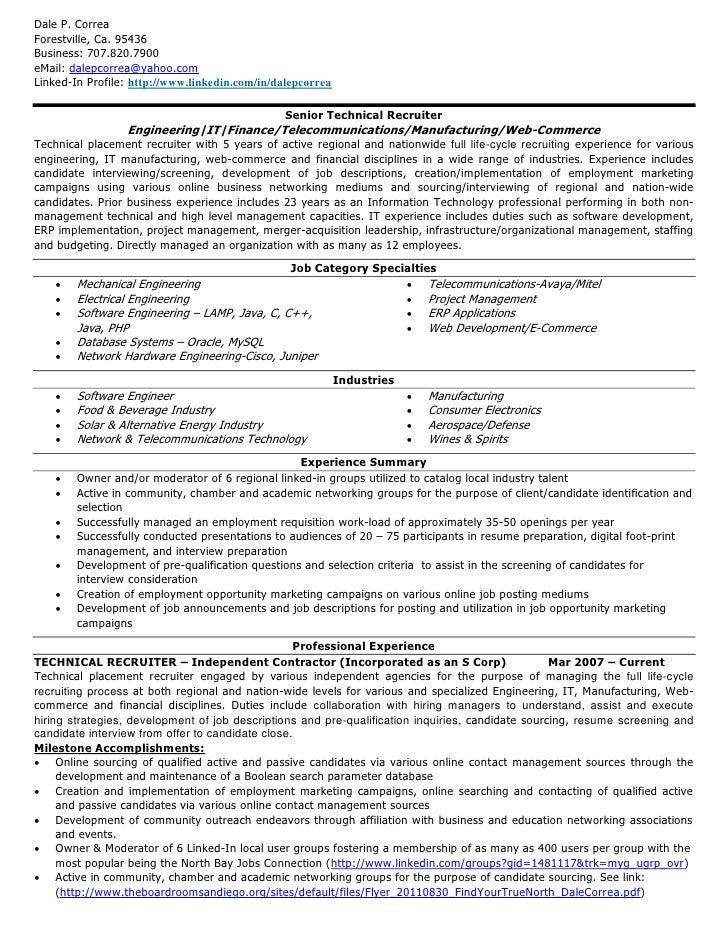 exle resume technical recruiter resume exle