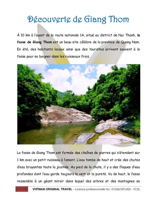1 VIETNAM ORIGINAL TRAVEL – Licence professionnelle No : 01024/GPLHQT – TCDL Découverte de Giang Thom À 10 km à l'ouest de...
