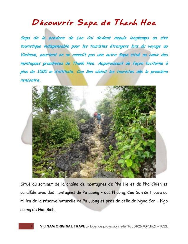 1 VIETNAM ORIGINAL TRAVEL– Licence professionnelle No : 01024/GPLHQT – TCDL Découvrir Sapa de Thanh Hoa Sapa de la provinc...
