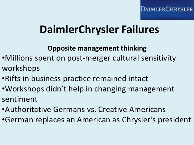 daimler chrysler case This paper describes the legal structure of the daimler-chrysler merger it asks   rather, a private german bank, oppenheim kgaa, has founded a wholly-   chrysler shareholders would obtain daimler-benz shares as a consideration for.