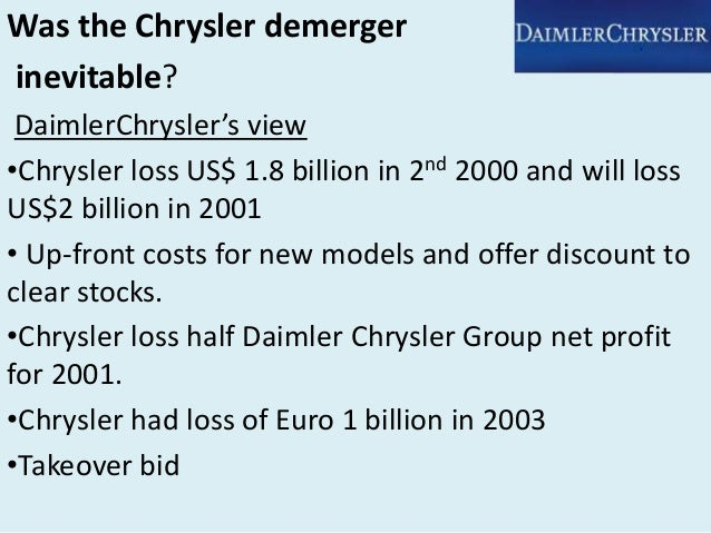an analysis of daimler chrysler corporation Agenda •industry •company backgrounds •motives of merger and  swot  analysis of daimlerchrysler strengths •merger combined two.