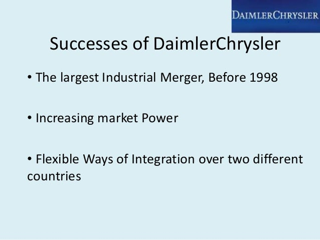 daimler chrysler merger case study This research study examined the effects of combining unlike corporate cultures   banking and finance at case western reserve university and a fellow at the   he analyzed the daimler-chrysler merger and blamed chairman, jurgen.