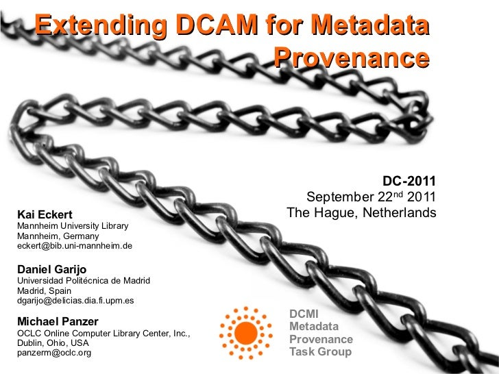 Extending DCAM for Metadata Provenance