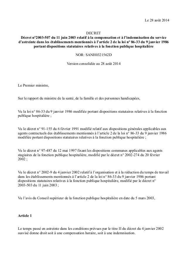 Le 28 août 2014  DECRET  Décret n°2003-507 du 11 juin 2003 relatif à la compensation et à l'indemnisation du service  d'as...
