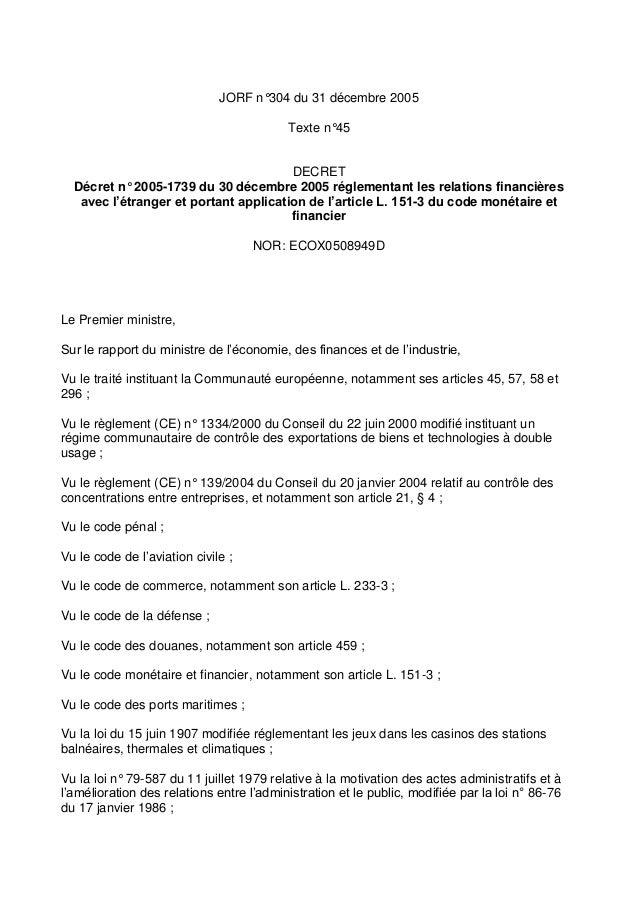 JORF n°304 du 31 décembre 2005 Texte n°45 DECRET Décret n° 2005-1739 du 30 décembre 2005 réglementant les relations financ...