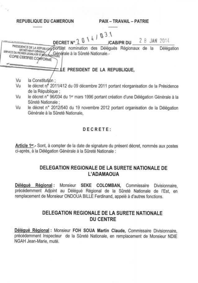 Décret n°2014031 du 28 janvier 2014 portant nomination des délégués régionaux de la délégation générale à la sûreté nationale