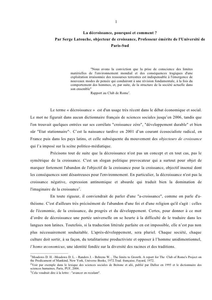 Serge Latouche: La décroissance, pourquoi et comment ?