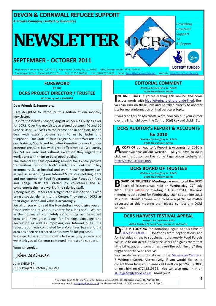 DCRS September - October 2011 Newsletter