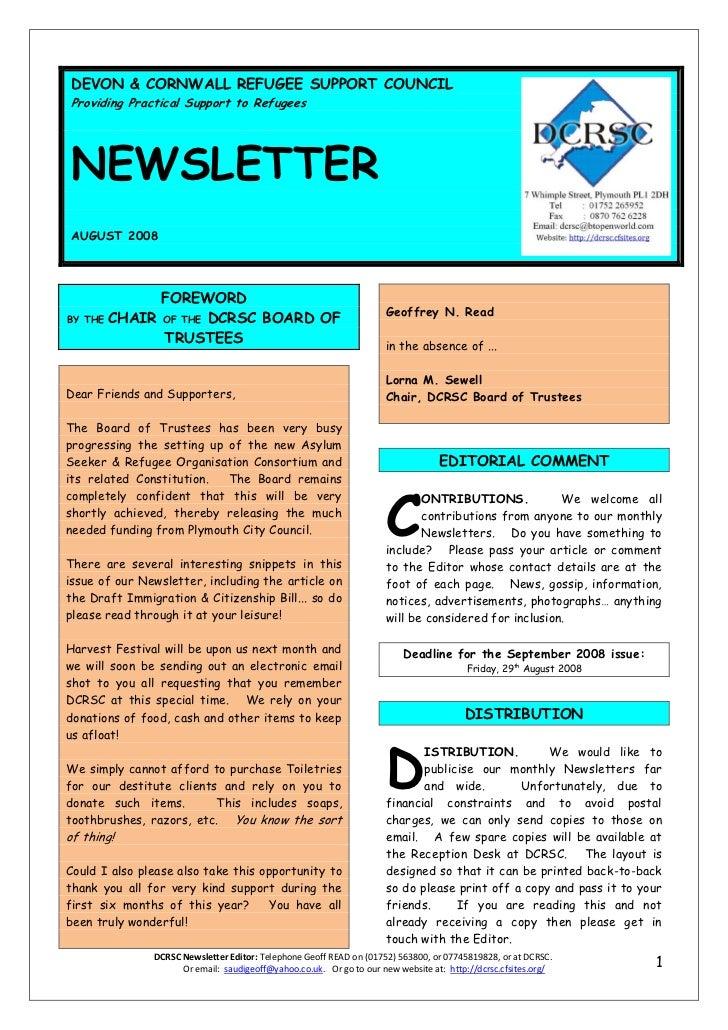 DCRSC August 2008 newsletter