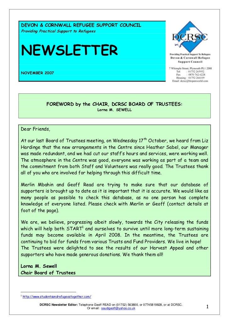 DCRSC November 2007 newsletter
