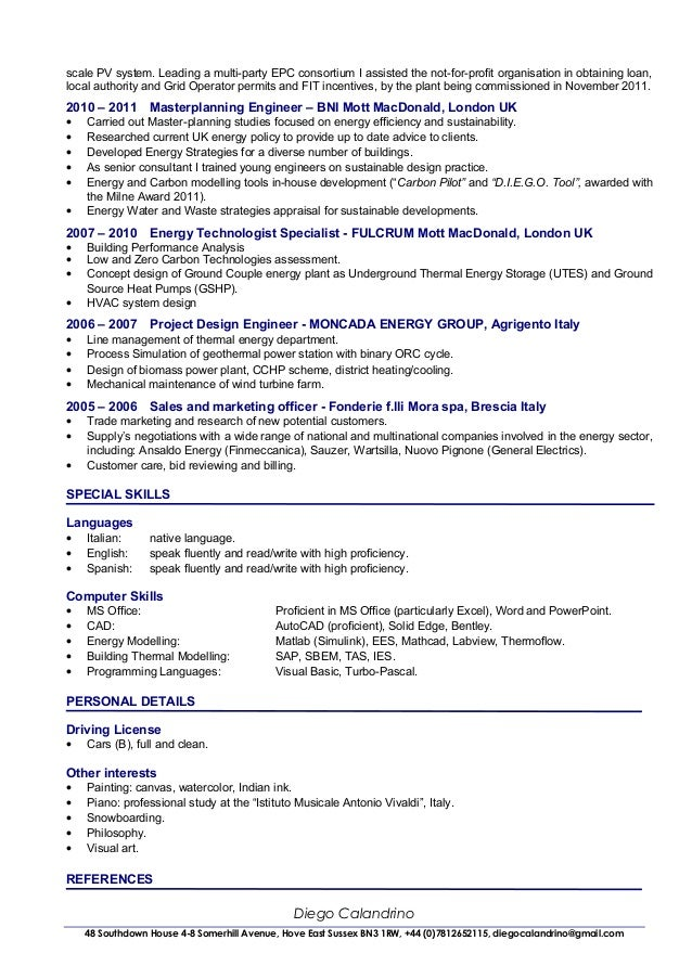 28+ [ Sample Resume Energy Consultant ] | Cv Of Diego Calandrino ...