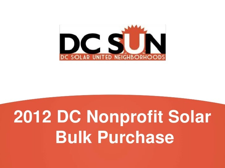 2012 DC Nonprofit Solar     Bulk Purchase