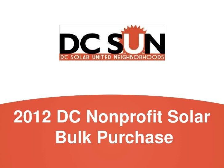DC SUN - DC nonprofit solar bulk purchase