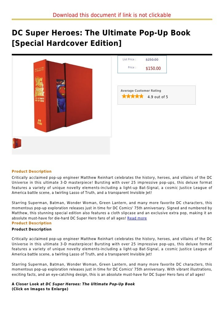 Download this document if link is not clickableDC Super Heroes: The Ultimate Pop-Up Book[Special Hardcover Edition]       ...