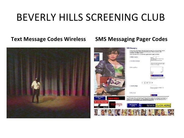 BEVERLY HILLS SCREENING CLUB  <ul><li>Text Message Codes Wireless </li></ul><ul><li>SMS Messaging Pager Codes </li></ul>