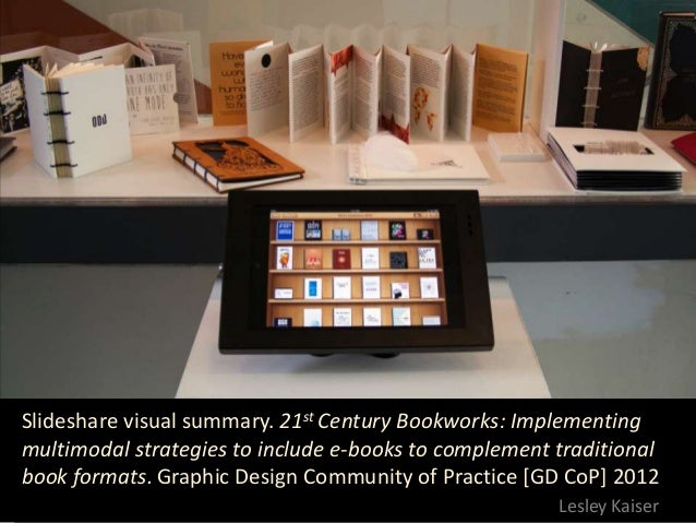 Slideshare visual summary. 21st Century Bookworks: Implementingmultimodal strategies to include e-books to complement trad...