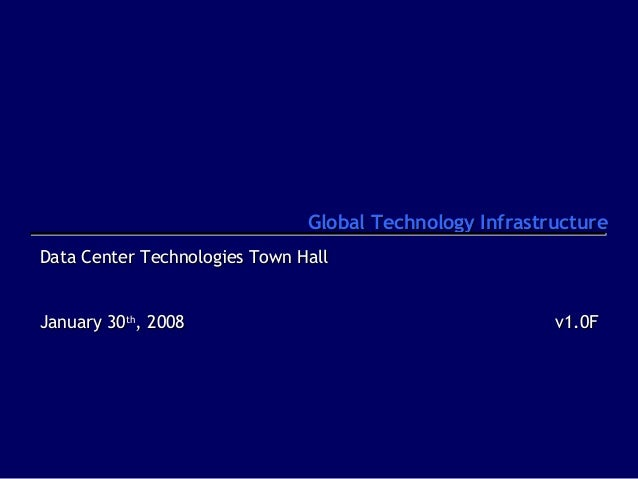 Global Technology Infrastructure Data Center Technologies Town Hall January 30th, 2008  v1.0F
