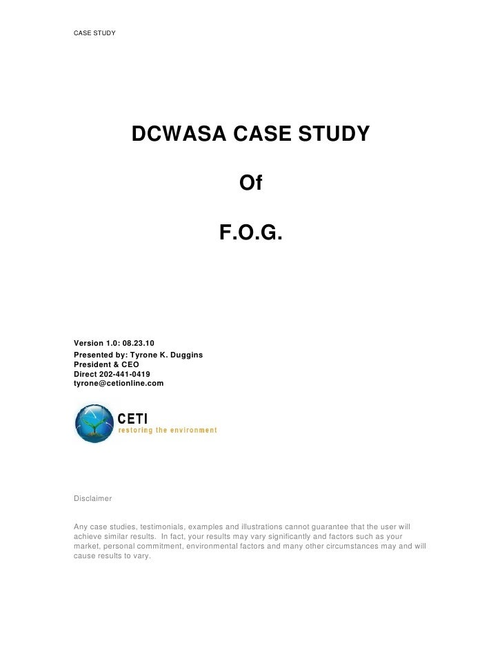 Dcwasa Fog Final Case Study