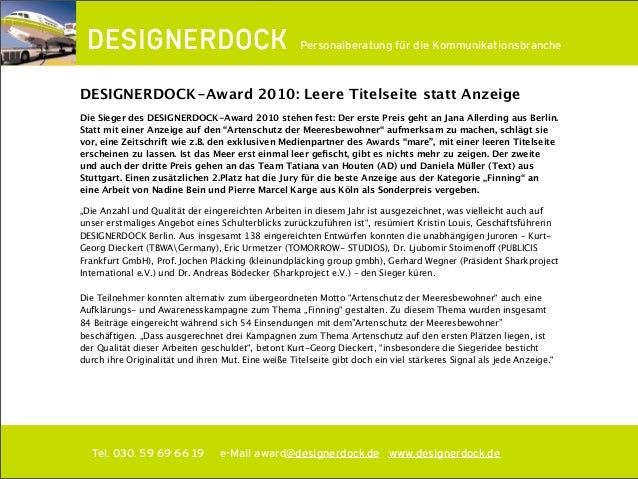 ∂ Tel. 030. 59 69 66 19 e-Mail award@designerdock.de www.designerdock.de Personalberatung für die Kommunikationsbranche DE...