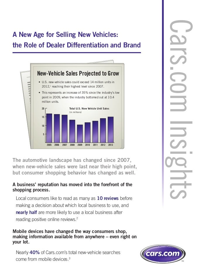 Cars.com InsightsA New Age for Selling New Vehicles:the Role of Dealer Differentiation and Brand           New-Vehicle Sal...