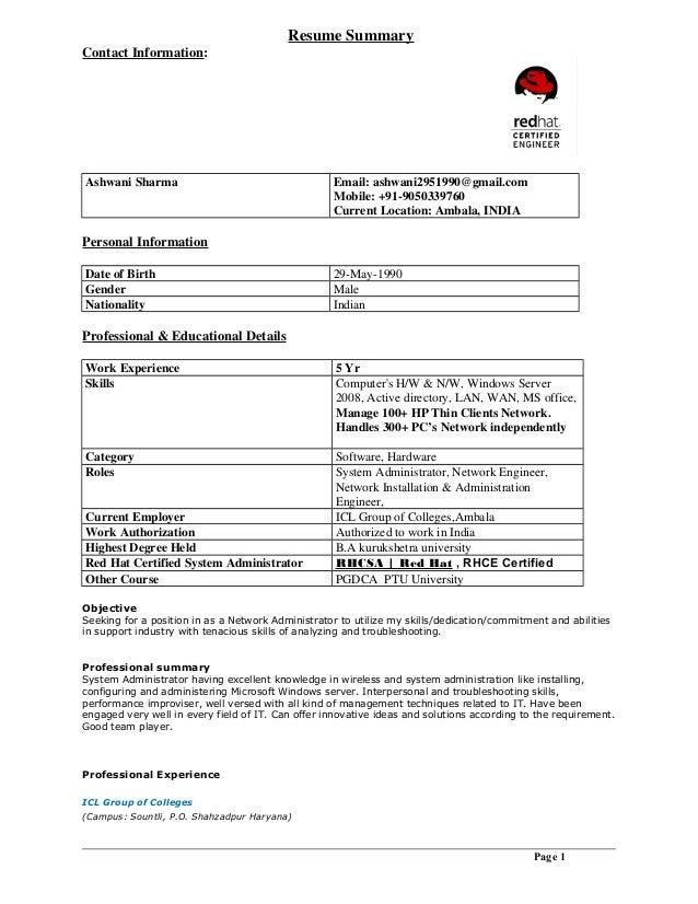 ashwani resume