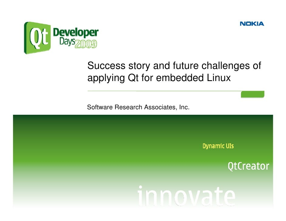 Success story and future challenges of applying Qt for embedded Linux  Software Research Associates, Inc.