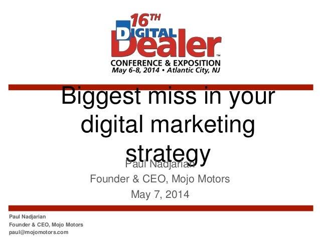 Biggest miss in your car dealership's digital marketing strategy #DD16