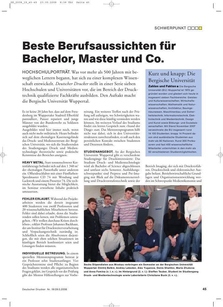 SCHWERPUNKT    Beste Berufsaussichten für Bachelor, Master und Co. HOCHSCHULPORTRÄT. Was vor mehr als 500 Jahren mit be-  ...