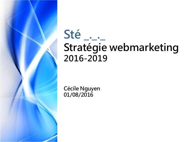 Sté _._._ Stratégie webmarketing 2016-2019 Cécile Nguyen 01/08/2016