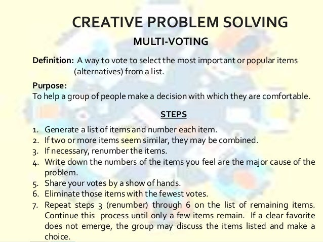 essay on creative problem solving So when should we use a group to address a particular problem and what are the major advantages and disadvantages of  problem solving:  the creative energy of.