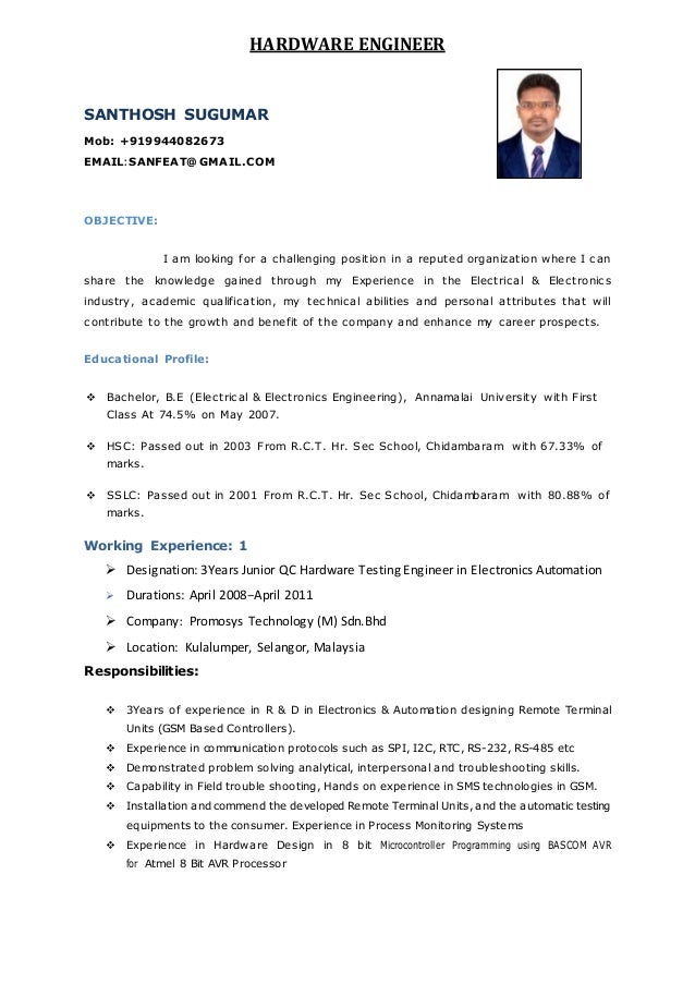 Hardware engineer resume objective
