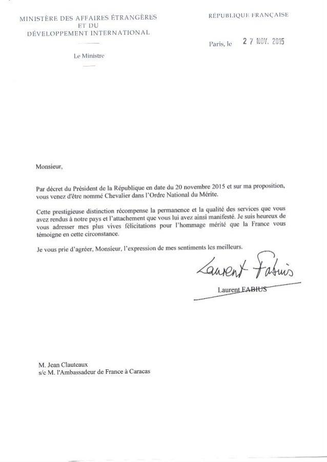 Lettres Clauteaux Chevalier de l'Ordre Lettre Lettres Ordre National du Merite