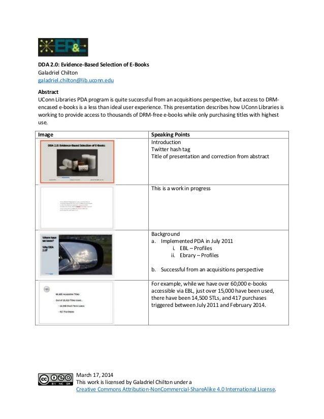 ER&L 2014: DDA 2.0 Evidence-Based Selection of E-Books - Talking Points
