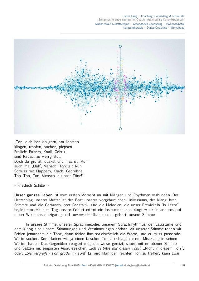 Doris Lang - Coaching, Counseling & Music eU Systemische Lebensberaterin, Coach, Multimediale Kunsttherapeutin Multimedial...