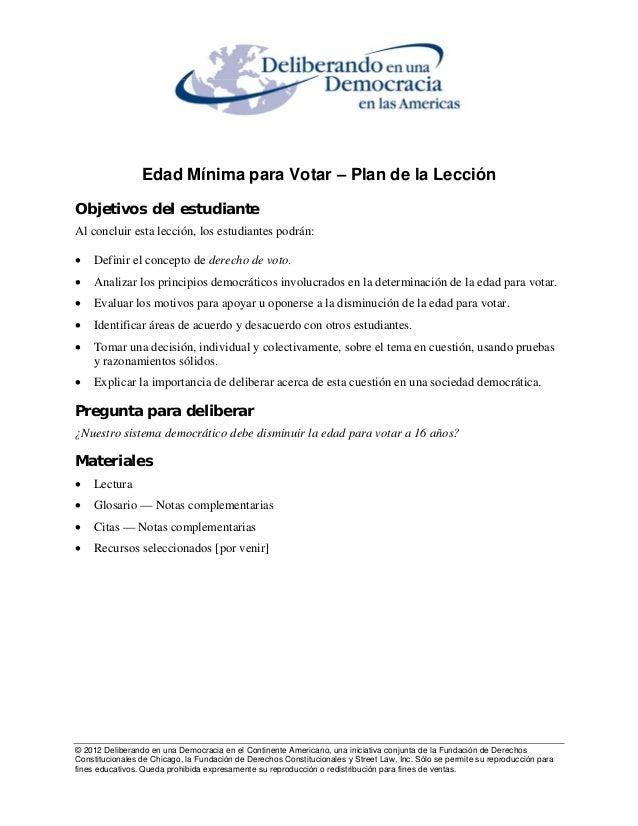 Edad Mínima para Votar – Plan de la Lección  Objetivos del estudiante  Al concluir esta lección, los estudiantes podrán:  ...