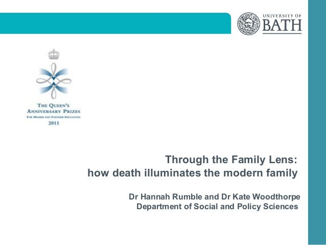 Through the Family Lens:how death illuminates the modern family       Dr Hannah Rumble and Dr Kate Woodthorpe        Depar...